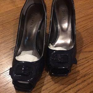 Nickels deep navy patent buckle heels